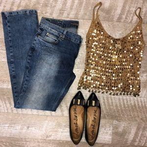 Zara Basic Medium Wash Paint Splatter Jeans Size12